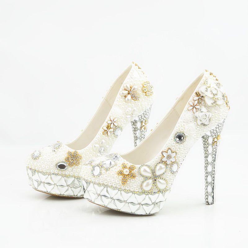 cf31664f224 2018 Handmade fashion crystal platform High Heels white pearls Wedding  Shoes Bridal round toe High Heels elegant Party Prom Shoes