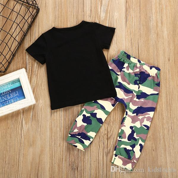 Fashion toddler kids boys tops T-shirt + camo pants outfits set clothes fit for kids 1-6T