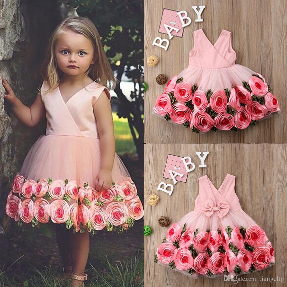 d8b92120 2019 Baby Girls Wedding Dresses Ribbon 3D Rose Flora Leaves Bow Front Corss  Princess Party Dress Zipper Boutique Toddler Kids Outfits 2 8T From  Tiangeltg, ...