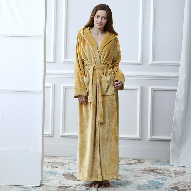2019 New Women S Hooded Thick Robes Soft Coral Fleece Warm Long Bathrobe  Plush Kimono Sleepwear Nightgown Winter Spa Robe With Pocket From  Tutucloth fc3147e3e