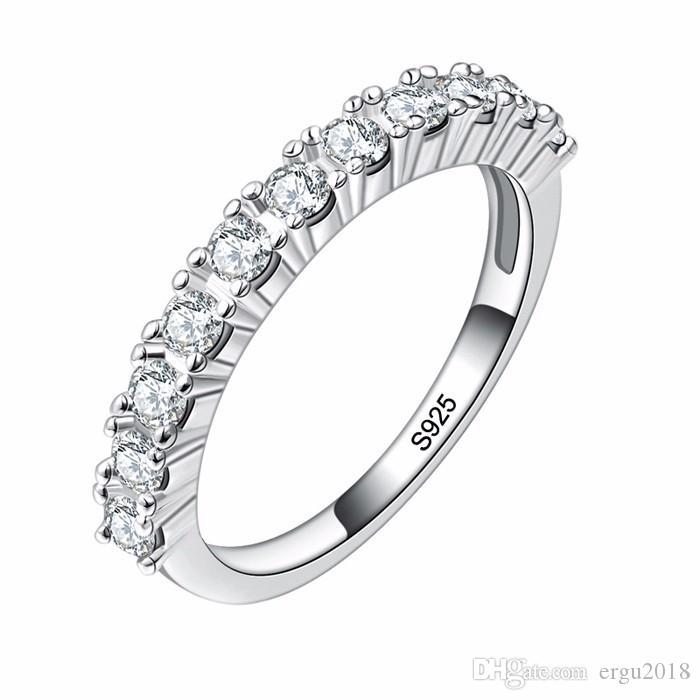 46307a1f3422 Compre Ergu Joyas Al Por Mayor Sólida Plata De Ley 925 Anillos De Dedo Para  Las Mujeres 11 Unids 2.5mm CZ Diamant Anillo De Bodas Sello De Regalo De La  ...