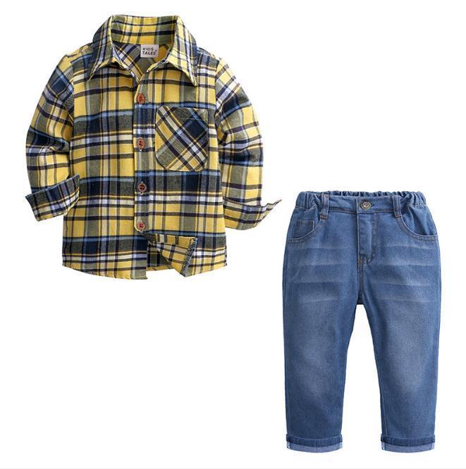 aa93d94a 2PCS Toddler Kids Baby Boy Gentle Man Clothes Set Plaid Shirt Tops + Jeans  Pants Trousers Clothes Outfits