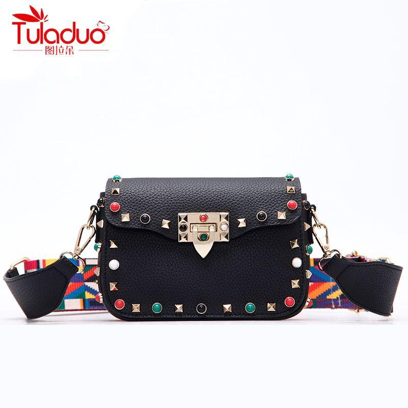 5c7f7927eeaf High Quality Pu Leather Women Crossbody Bags Fashion Color Rivet ...