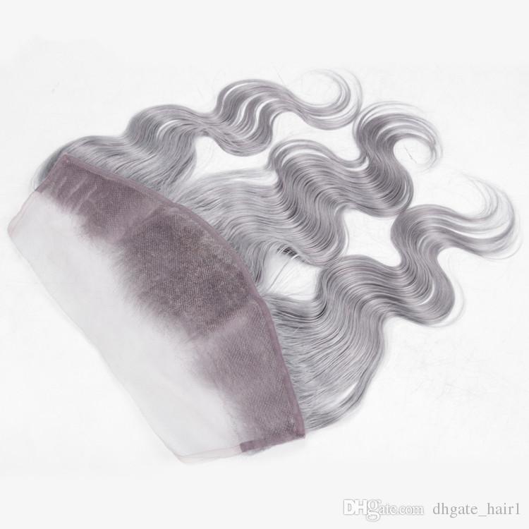 Body Wave Color gris puro 13x4 Cierre frontal de encaje completo con 4 ofertas de paquetes Paquetes de armadura de cabello humano gris peruano de plata peruana