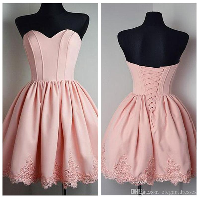 Sweetheart Pink Lace Appliques Short Homecoming Dresses Lace Up Back