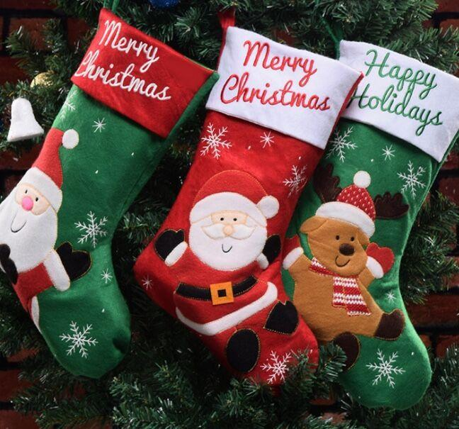 machine embroidery christmas stockings green and red color decorate your christmas tree well designed be loved by children decorate christmas tree stockings