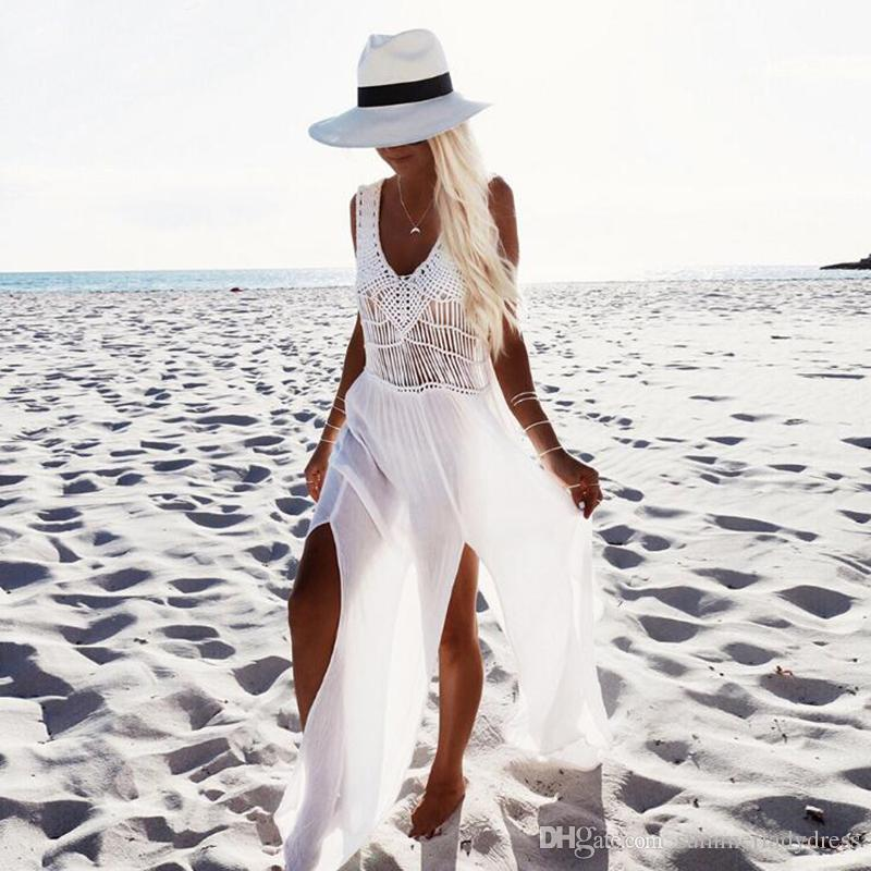 Acquista Vestiti Lunghi Bianchi Dalla Spiaggia Di Estate Di Modo Del Vestito  Il Formato Libero Sexy Delle Coperture Della Rappezzatura Del Bikini  Chiffon ... e69183a3cd6
