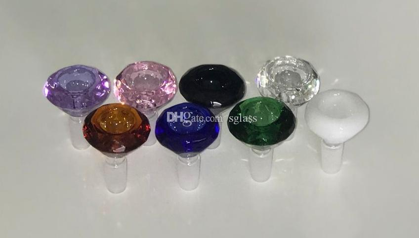 Heavy Colored Diamond cut Male Glass Bowls 14mm 18mm Bong Bowl Multicolor High Quality 18 mm & 14 mm Wholesale Bowls for Glass Water Pipes.