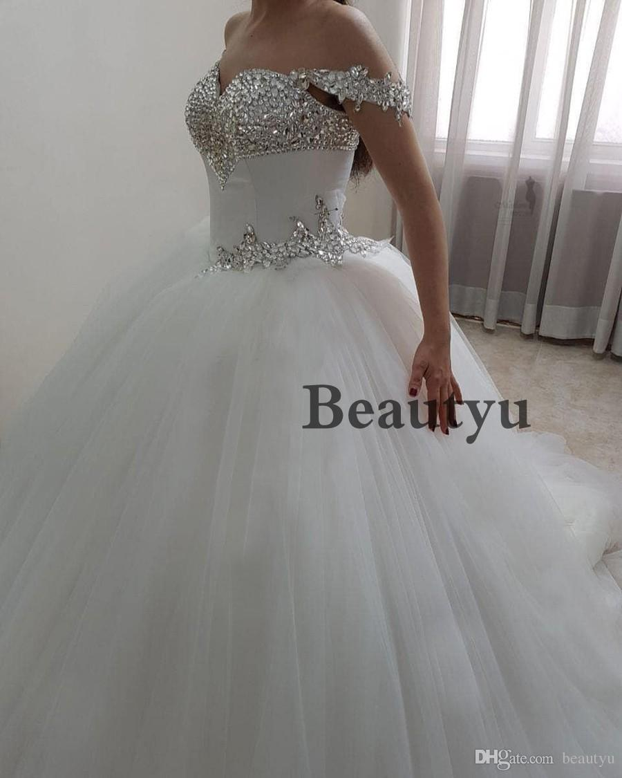 Luxury Ball Gown Wedding Dress 2018 Sparkle Crystals Off Shoulder Corset  Plus Size Cheap Tulle Country Bridal Gowns Vestidos De Noiva Wedding Dresses  ... d876f6d544aa