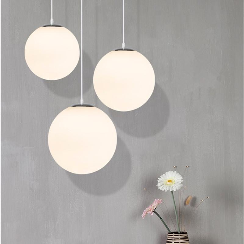 Grosshandel Moderne Glas Pendelleuchte Led Weiss Globe Ball Hangelampe