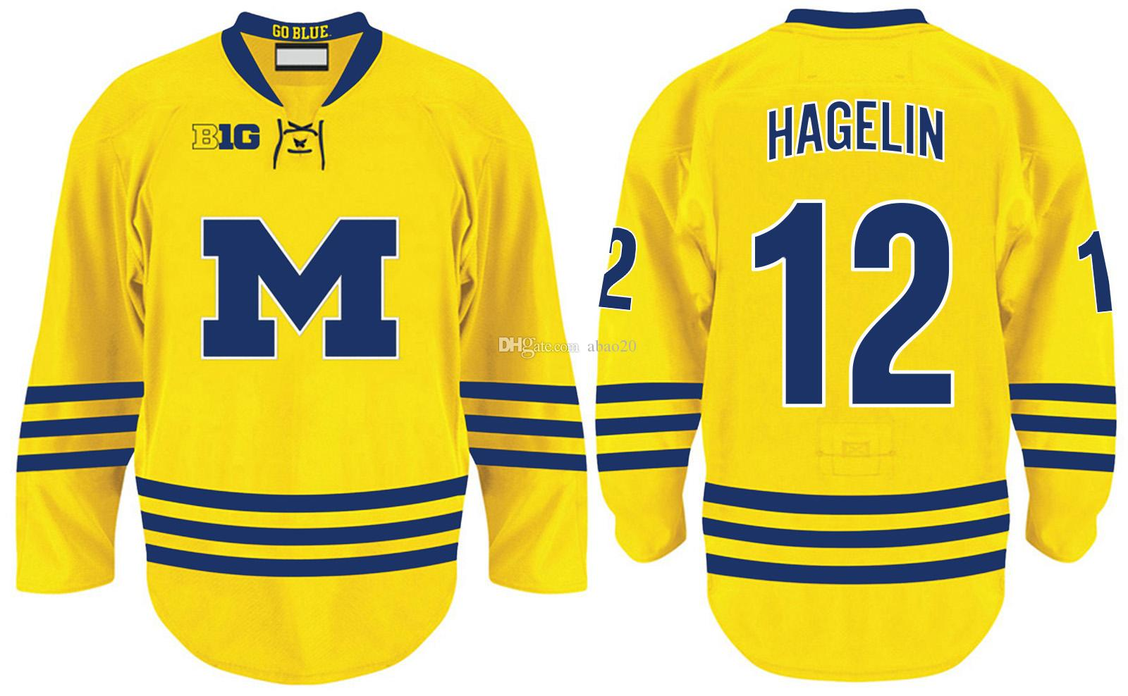uk availability 5b39a 49b27 University of Michigan #12 Carl Hagelin Yellow College Hockey Jersey  Embroidery Stitched Customize any number and name Jerseys