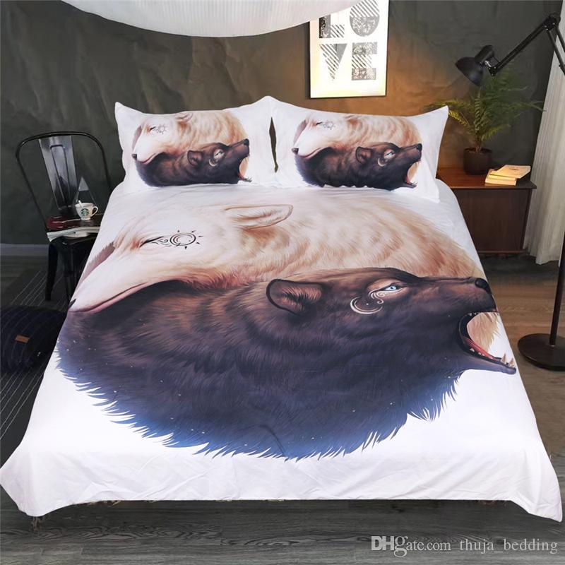 3D Bedding Set Pillow case Watercolor Print Bed Set Polyester Lion Wolf Duvet Cover Dreamlike Bedlinen Unique Design No Fading Full Queen