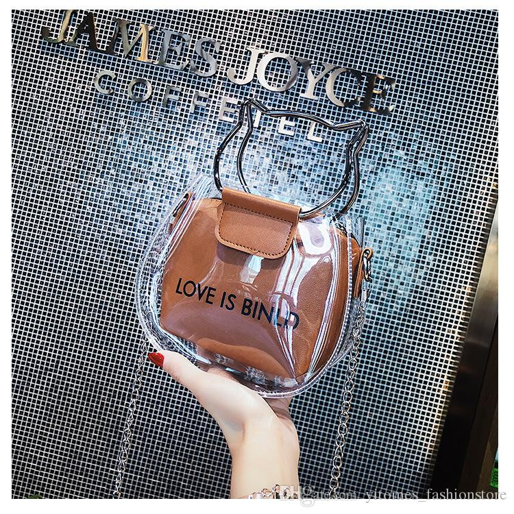 0b94d7ccd9 Women Fashion Composite Bags New Chic Transparent Sweet Cute Cross Body Shoulder  Bags Ladies Crossbody Handbag Girl Leather Tote Leather Tote Bags From ...