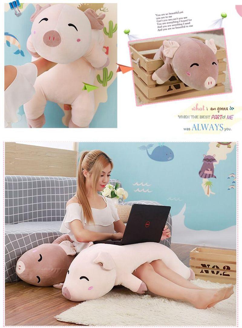 Dorimytrader 2018 soft lying cartoon piggy plush doll big stuffed animal pig toy pillow gift for girls and boys 39inch 100cm DY61975