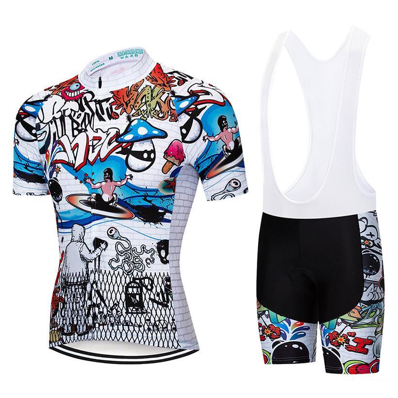 UCI Team White Graffiti Cycling Jersey 9D Pad Bike Shorts Set MTB ... e12c9a4a9
