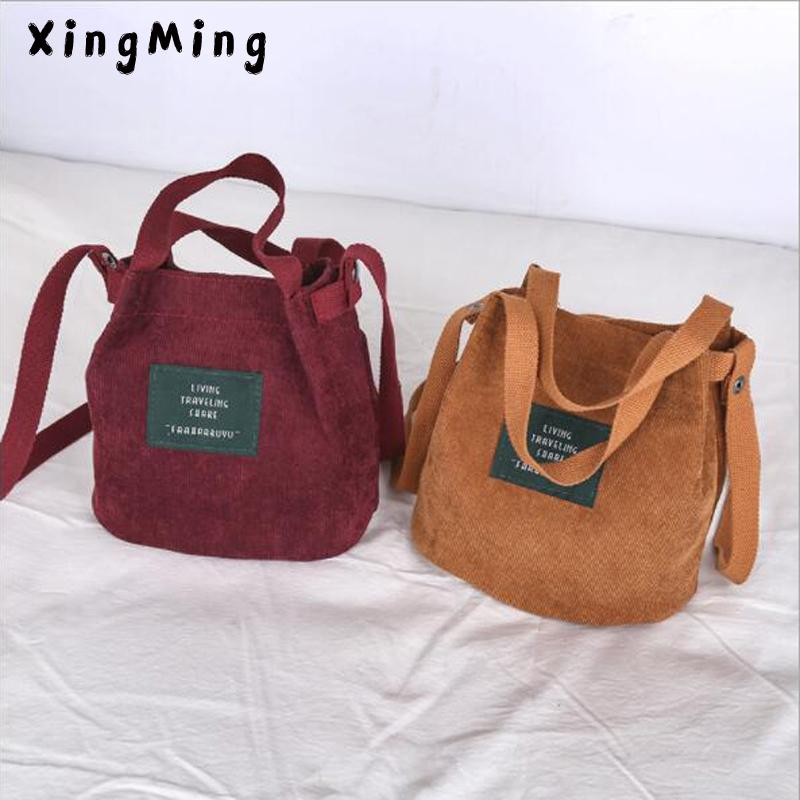 dccec3b77a77 XINGMING 2018 Designer Handbags High Quality Women Bag Vintage Corduroy  Shoulder Bags New Corduroy Bucket Shoulder Handbags Ladies Purse Leather  Briefcase ...