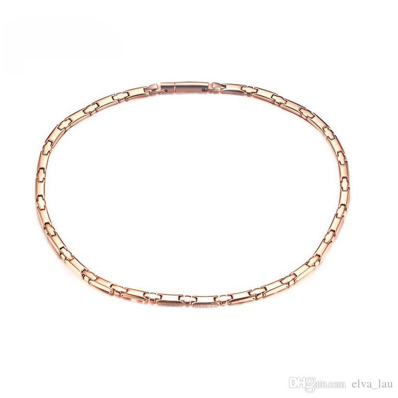 Neue Ankunfts-magnetische Mens-Halsketten-Kette 6mm Breiten-Rose Gold überzogene Gesundheitswesen-Schmuck-Titanmänner-Kette mit Germanium-Magneten