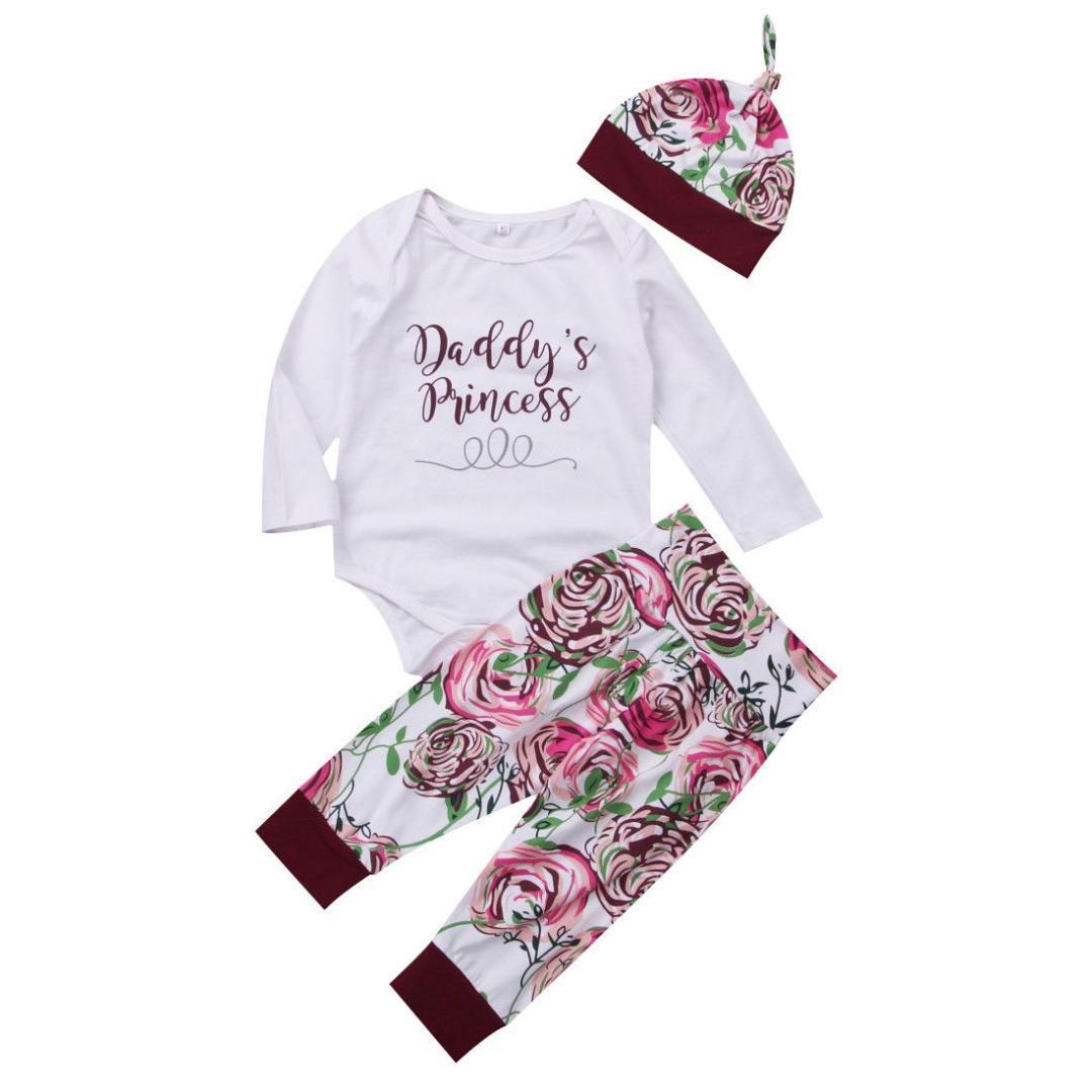 e056812f45c Newborn Baby Girls Tops Romper Floral Pants Leggings Hat Outfits Set ...