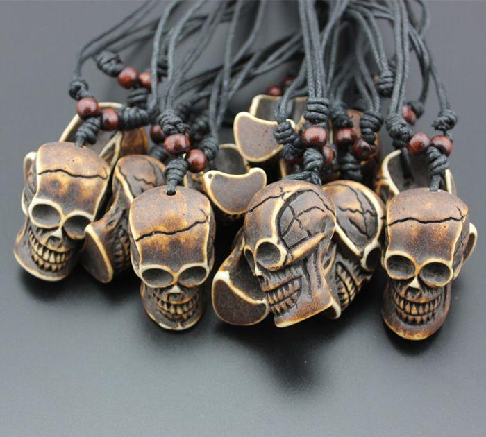 New Fashion Adjustable Rope Skeleton Skull White Brown Yak Bone Necklaces Sull Pendants For Women Men Simulated-Bone Jewelry Wholesale