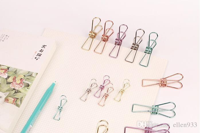 100 unids / set envío gratuito de papelería clip de papel clip de clip de forma de cola larga de acero inoxidable