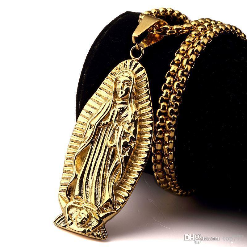 Wholesale 2018 new design gold virgin mary pendant necklace steel wholesale 2018 new design gold virgin mary pendant necklace steel religious mother mary christian necklaces hip hop jewelry for menwomen charms for aloadofball Image collections