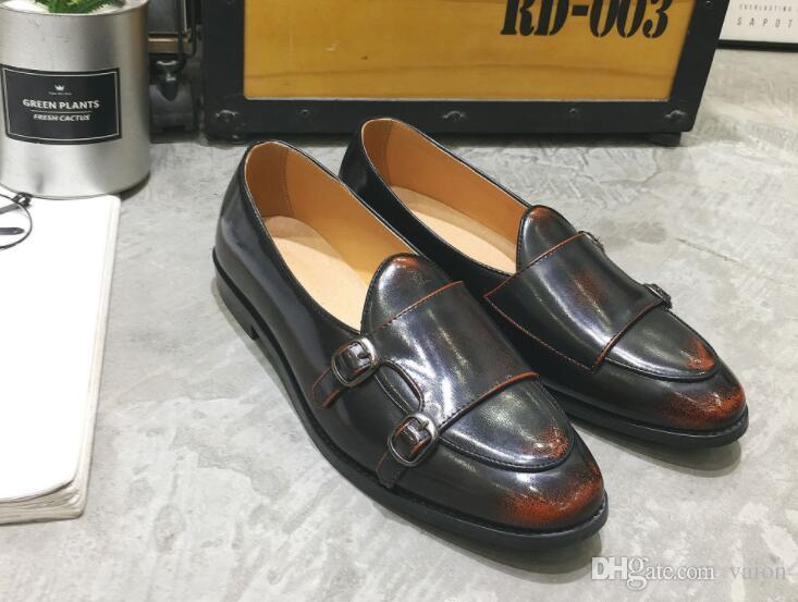 Vintage Designer Men mixed colors belt Shoes Loafer Male Homecom Prom Dress wedding shoes moccasins Sapato Social Masculino