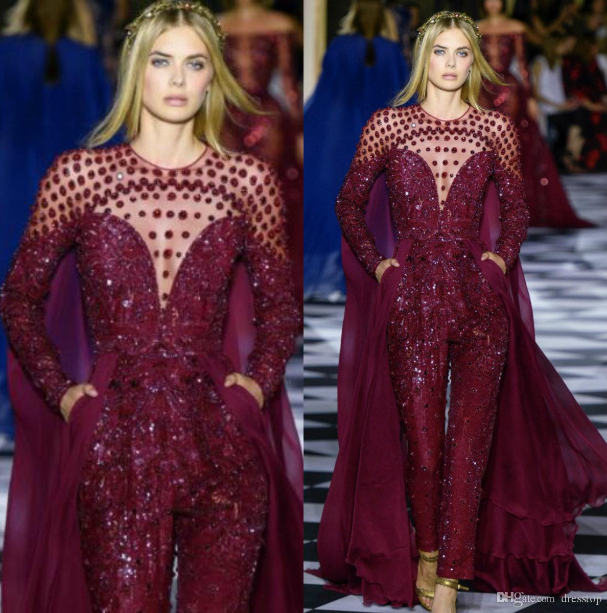 d88ea74c41f Luxury Burgundy Zuhair Murad Evening Dresses Long Sleeve Jewel Neck Prom  Gowns Custom Formal Red Carpet Jumpsuit Party Dress With Pocket Long  Dresses Online ...