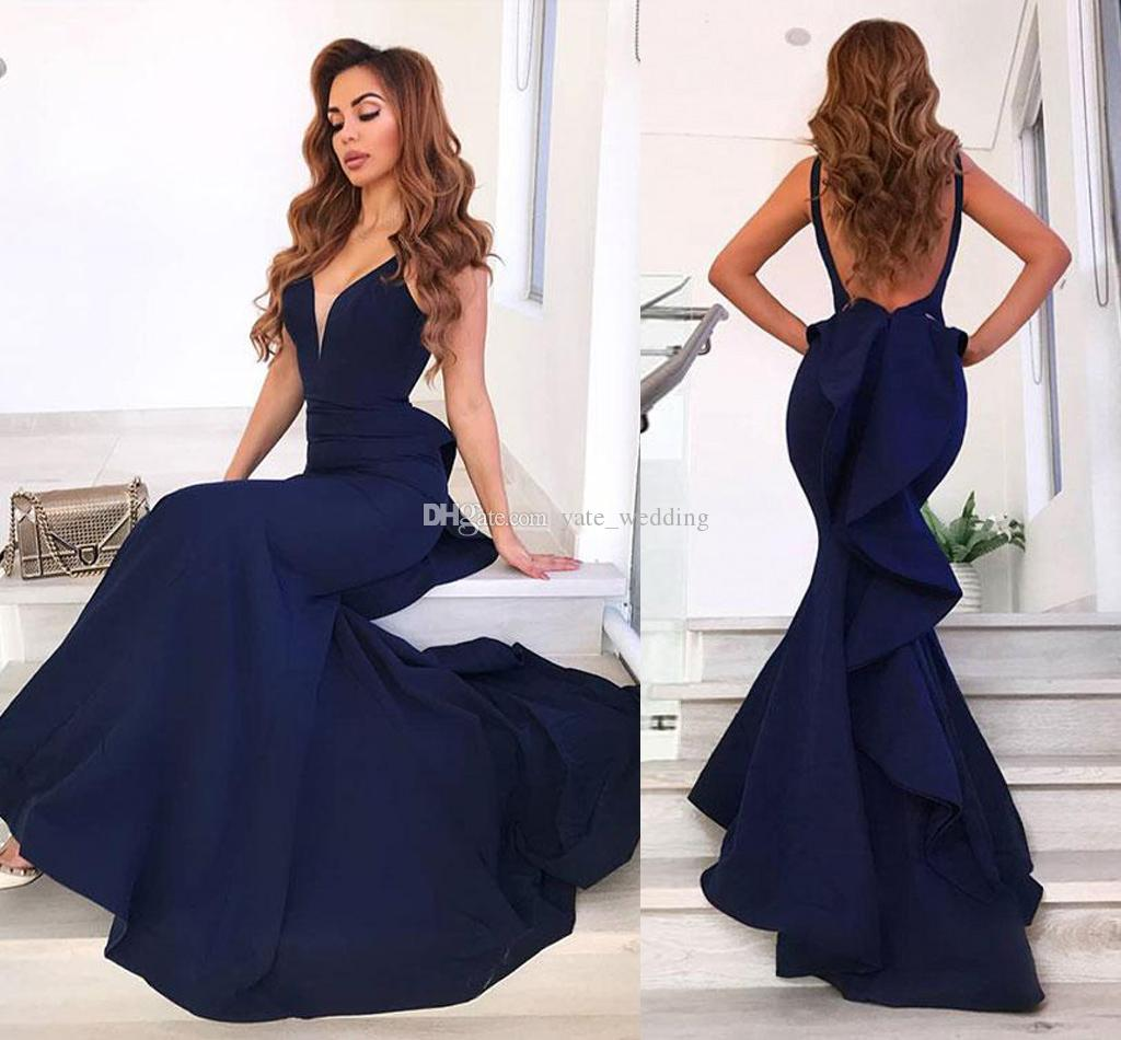 7ce23e01115 Elegant Navy Blue Mermaid Evening Dresses V Neck Sleeveless Satin Floor  Length Backless Prom Dresses Sexy Evening Gowns With Ruffles Patterns For  Evening ...