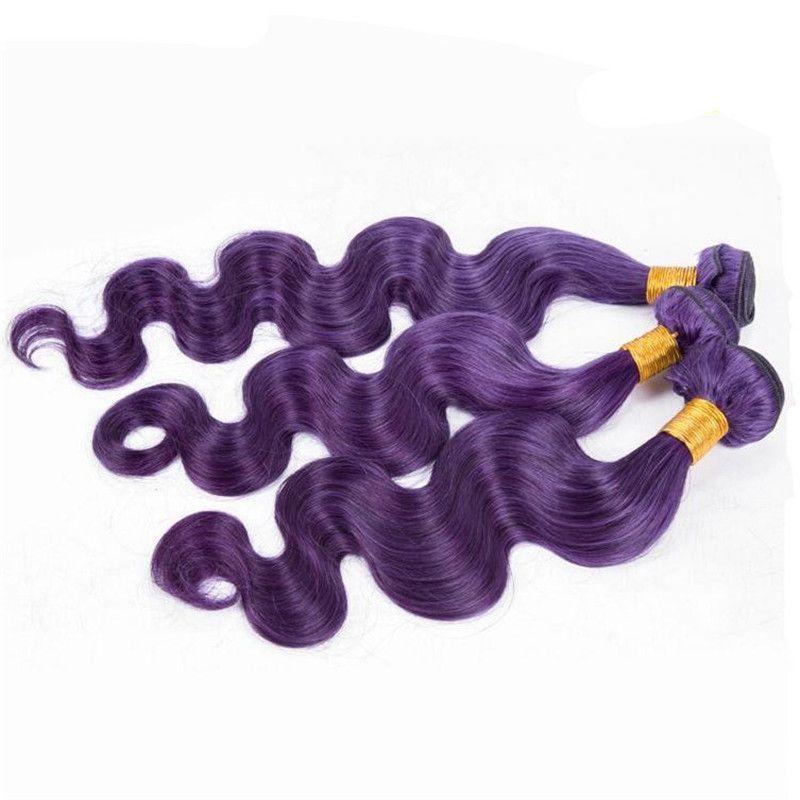 New Arrival Body Wace Purple Human Hair 3 Bundles Brazilian Virgin Hair Popular Purple Color Hair Weaves For Sale Free Shippng