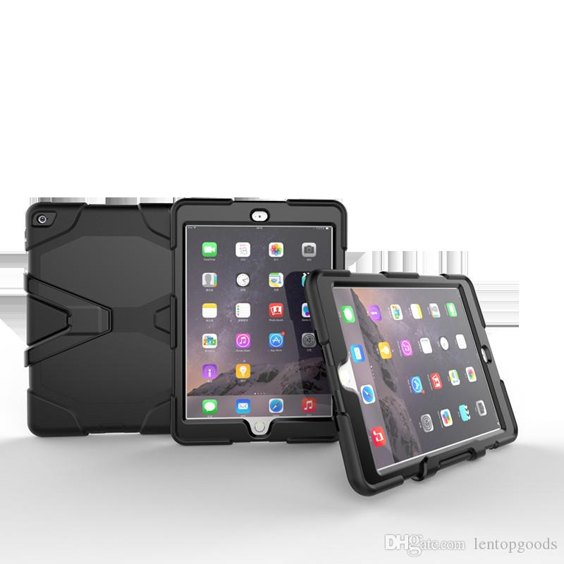 Silicone Case with Holder for Apple iPad Air 2 Kids Safe Armor Shockproof Heavy Duty Silicon+PC Stand Back Cover for ipad 6 Tablet+Pen