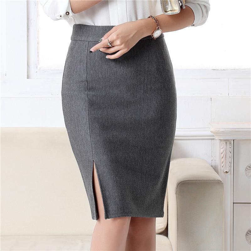 Compre 2018 Nueva Moda Mujeres Oficina Formal Lápiz Falda Primavera Verano  Elegante Delgada Frente Falda Midi Negro   Gris   Rojo   Azul OL Faldas  D1891801 ... deddb5d138c4