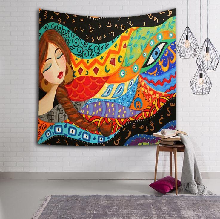 bohemian Indian tapestry retro cartoons girl rectangular tapestry hippie wall hanging digital printing beach towels sunscreen shawls