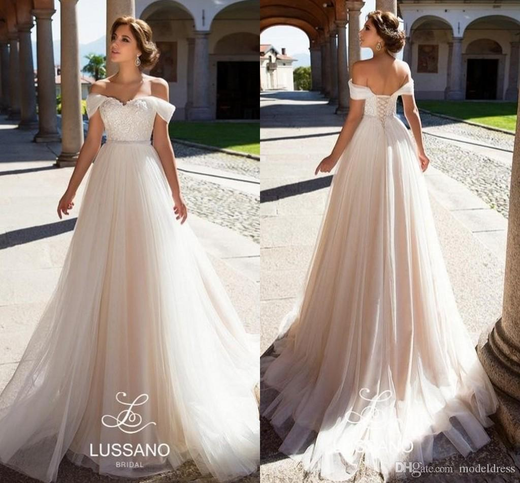 Discount Charming Bohemian Wedding Dresses 2018 Appliques Lace Top Corset Back A Line Sweep Train Modest Country Beach Bridal Gowns Cheap Customized: Lace Corset Wedding Dresses Cheap At Websimilar.org