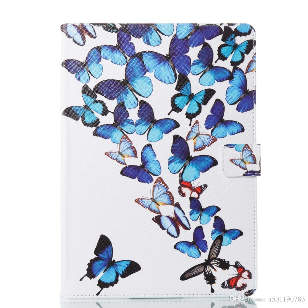 Butterfly Cover PU Leather Tablet Case For Apple ipad pro 9.7 A1673 1674 A1675 Smart Wallet Cartoon Cover Case+Stylus Pen+Film.