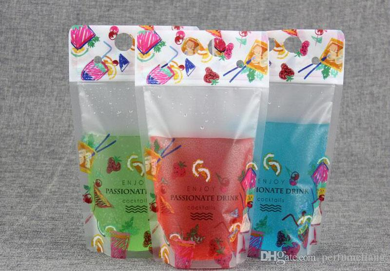 Clear Stand-up Beverage Drink Coffee Plastic Packaging Bag Resealable Zip Lock Juice Storage Pouch With Straw ZA5674