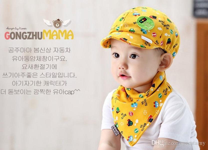 lovely baby hats bibs set kids hat and bibs toddlers infant hat little car baseball beret cap+saliva towel