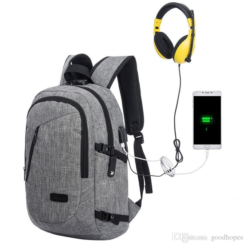 """Anti Theft Slim Laptop Backpack Water Resistant Computer Bag with USB Charging Port Lightweight College Travel Backpacks Fit 15.6"""" Laptop"""