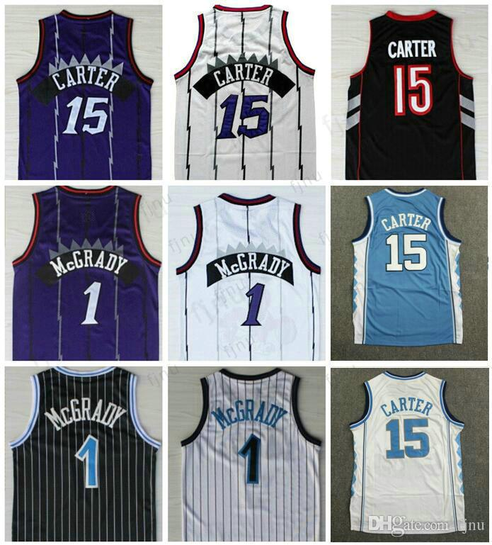 5ae9a1e8d Men s Best Quality  15 Vince Carter Jersey Purple White  1 Tracy ...
