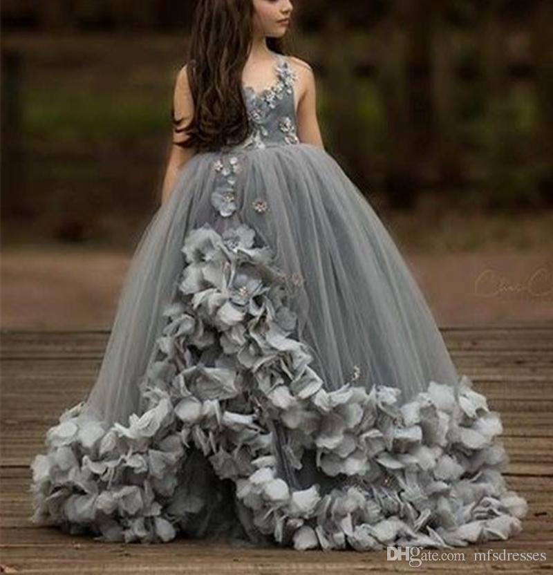 5caffb4ec Grey Princess Girls Pageant Dress Petals Spaghetti Straps Flower ...