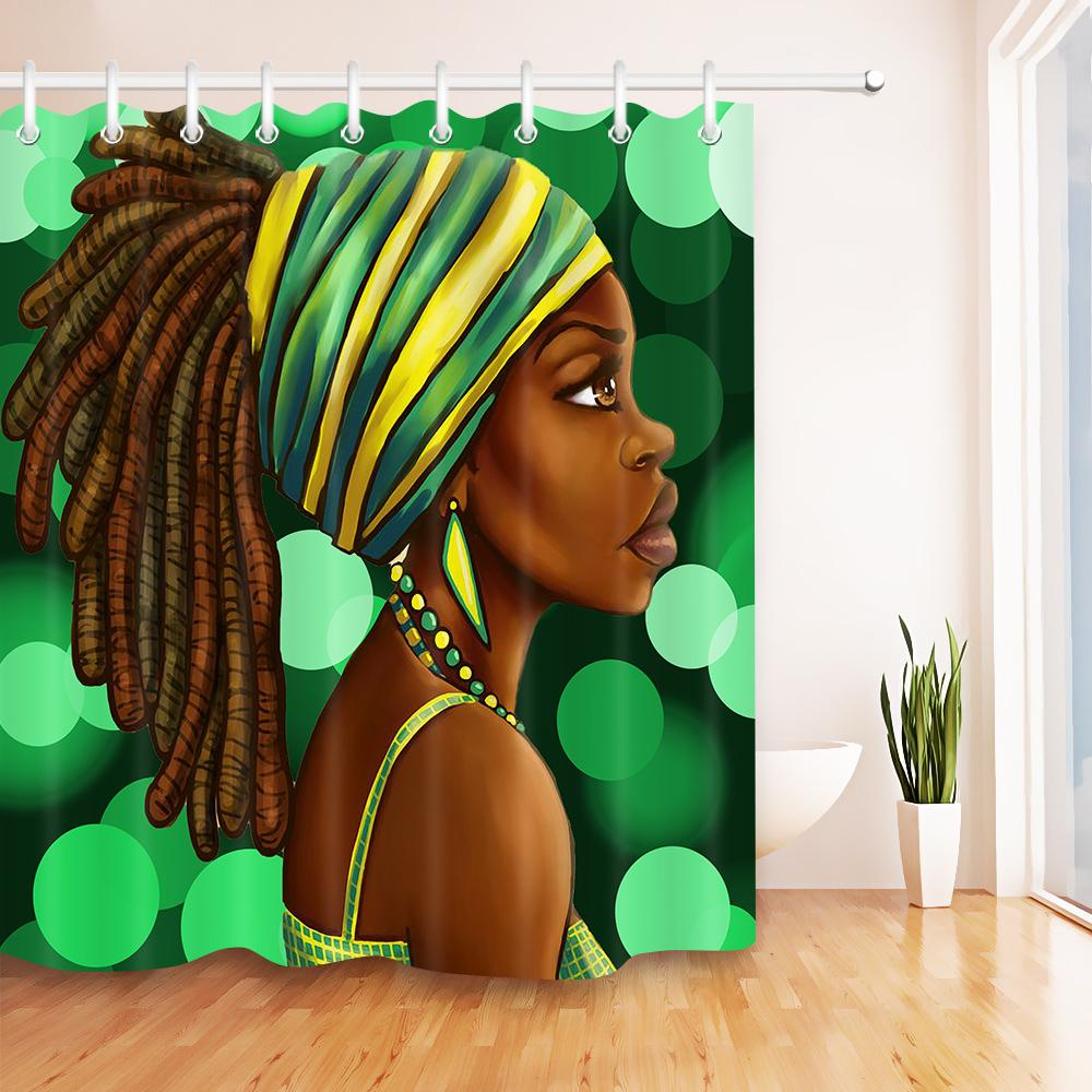 2018 Afro Hairstyle Girl African American Woman Waterproof Shower Curtain  Decor Polyester Fabric Bathroom Bath Curtains 12hooks Set From Industrial,  ...