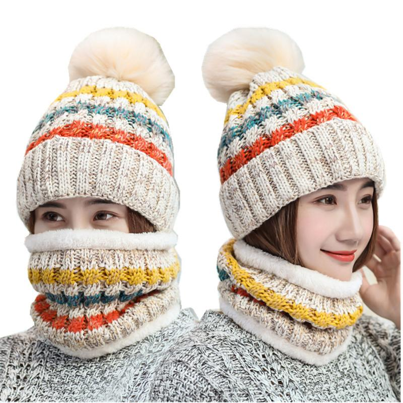 c0860300d64 2017 New Pom Poms Winter Hat Scarf for Women Fashion Solid Warm Hats ...