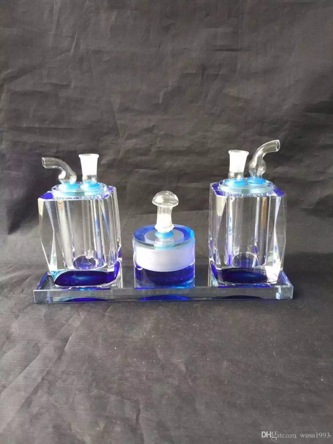 wholesalers ----- 2018 new Double pot colored glass hookah / glass bong, with a kerosene lamp, the color random delivery
