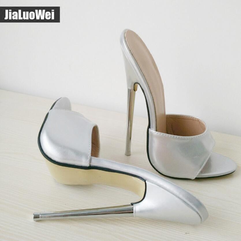 2018 New 18cm Uomo Erotic tacchi alti scarpe BDSM Sexy Fetish Donne Pompe Tacchi estivi Peep toe Plus Size 36-46 Viola Bianco Nero