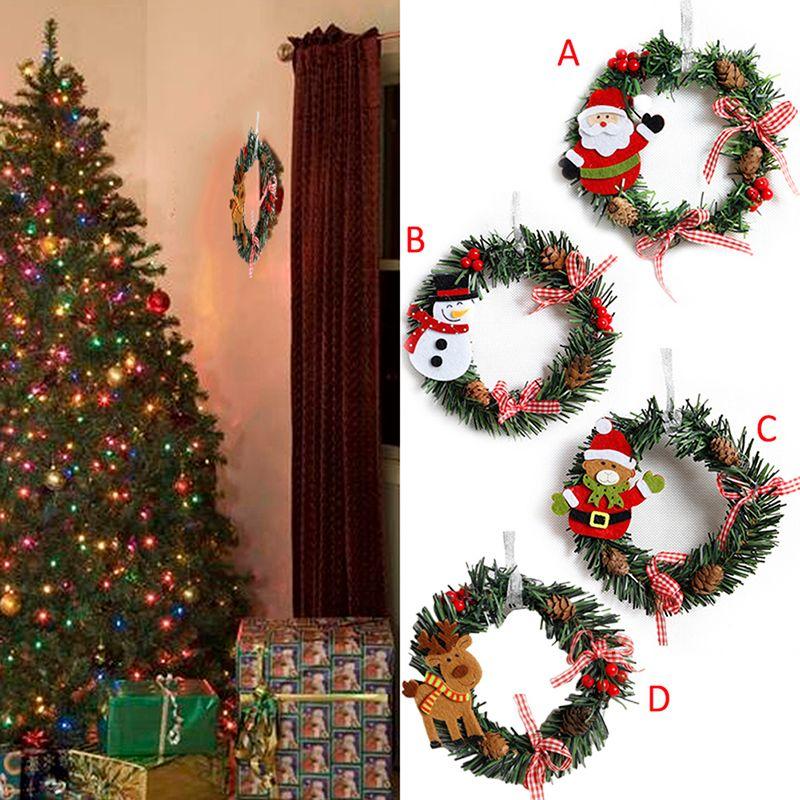 Christmas Decorations Garlands.Christmas Snowman Deer Garland Art Wreath Decoration Rattan Reed Wreath Garlands Home Party Christmas Decorations Ooa5813