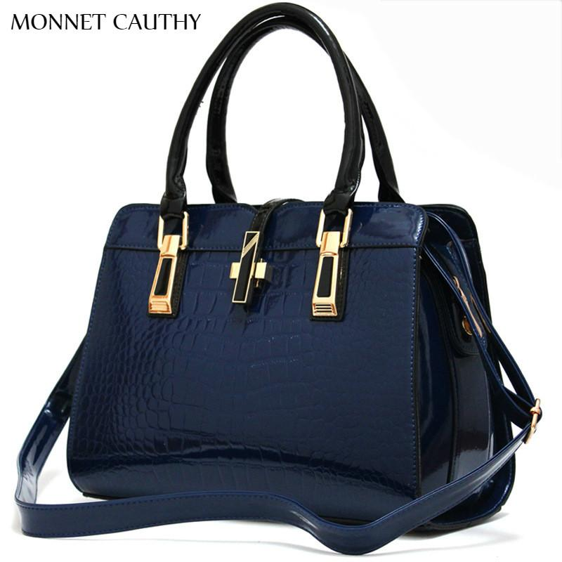 MONNET CAUTHY Bags for Ladies Solid Color Wine Red Rose Navy Blue Black and White Shell Totes Concise Fashion Handbags Crossbody