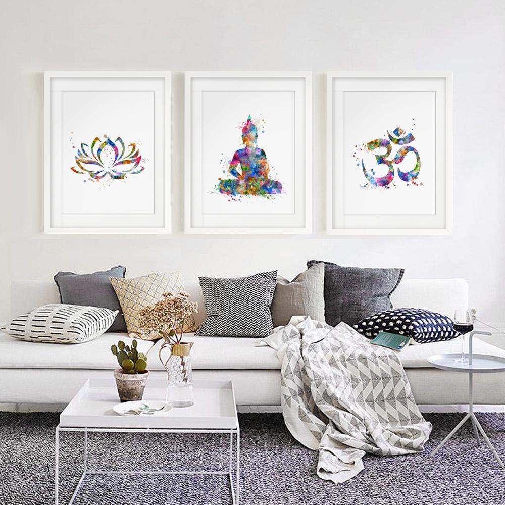 2018 Buddha Wall Art Lotus Flower Art Print Yoga Watercolor Om Yoga