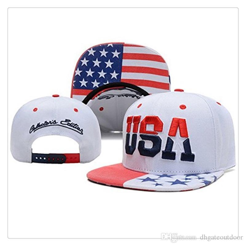 57ca66d6385 High Quality USA American Flag Snapback Cap Adjustable United States ...
