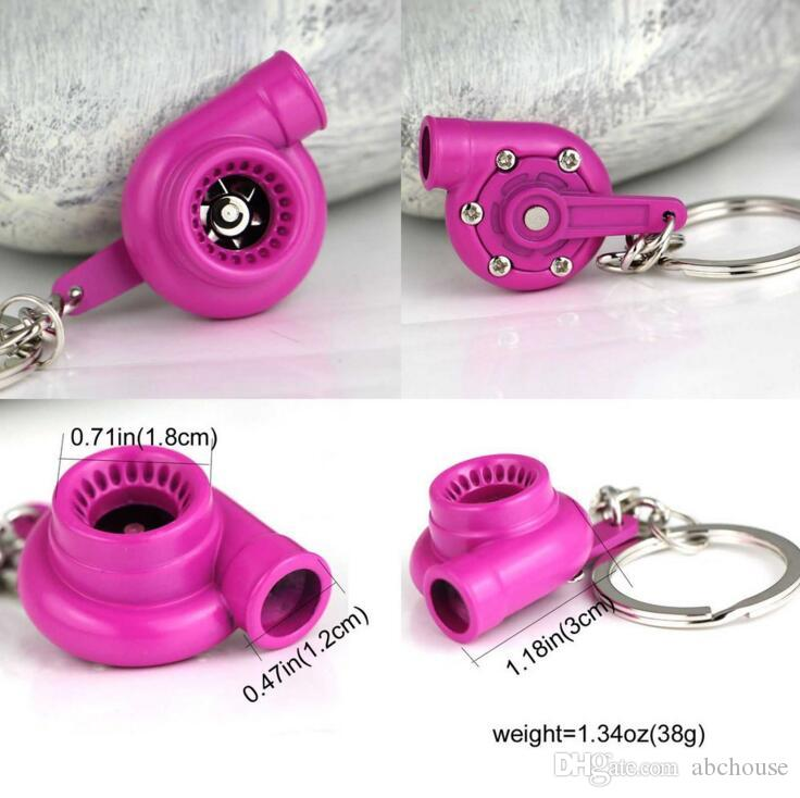 Spinning Turbo Keychain Creative Fashion Fans Favorite Sleeve Bearing Turbine Turbocharger Keyring Key Chain Ring Keyfob Car Parts Keychains