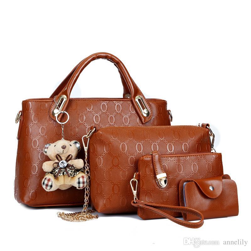 бесплатная доставка Оптовая 2017 новая мода женщин креста тело мешок Марка сумки Сумки PU кожаные женские сумка 4 шт набор
