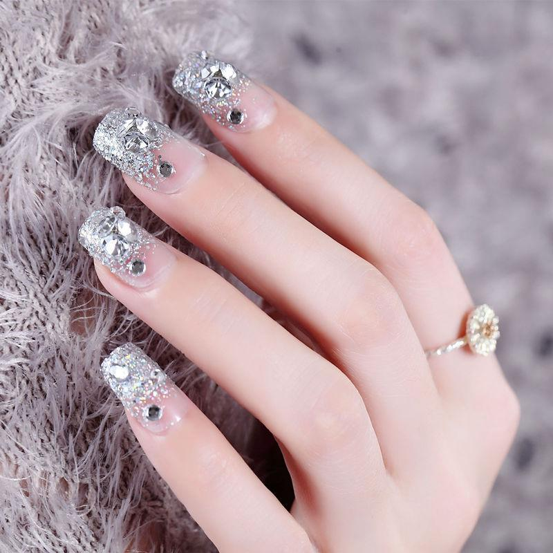 Hot sale 24pcs Acrylic Artificial False French Nail Tips Fake Nails for  Wedding Party Nail Art Design YF2018